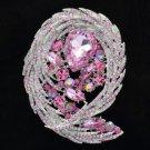 Delicate Drop Rhinestone Crystals Pink Flower Brooch Brooch Pin 4236