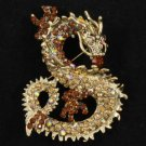 "Vintage Smoked Topaz Dragon Brooch Pin 2.4"" w/ Rhinestone Crystals Animal 2980"