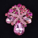 "New Trendy Pink Starfish Flower Pendant Brooch Pin 2.2"" Swarovski Crystals 4995"