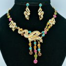 H-Quality Stunning Multi-color Snake Necklace Earring Set W/ Swarovski Crystals