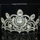 Weddng Grace Bridal Tiara Flower Crown W/ Clear Rhinstone Crystals 0825