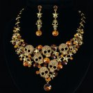 Vintage Style Skull Star Necklace Earring Set W/ Brown Swarovski Crystals