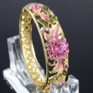 H-Quality Exquisite Pink Flower Bracelet Bangle Cuff W/ Swarovski Crystals
