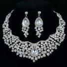 Rhinestone Crystals Teardrop Flower Necklace Earring Set W/ 6 Color 02162
