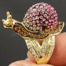 Swarovski Crystals Cute Animal Pink Snail Cocktail Ring Size 6,7,8# SR1865