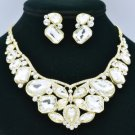 Gold Tone Clear Rhinestone Crystals Flower Butterfly Necklace Earring Set 00355