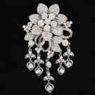 "Wedding Bride Flower Brooch Broach Pin 4.4"" W/ Clear Rhinestone Crystals 4863"