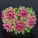 Pretty Snowflake Flower Bracelet Bangle W/ Pink Rhinestone Crystals