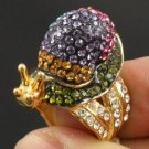 Swarovski Crystals High Quality MultiColor Snail Cocktail Ring Size 6# SR1865-1