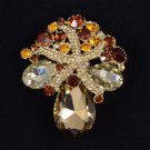 "Trendy Brown Starfish Flower Pendant Brooch Pin 2.2"" Rhinestone Crystals 4995"