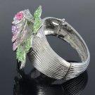 Silver Tone Pink Flower Bracelet Bangle Cuff W/ Rhinestone Crystals E7174