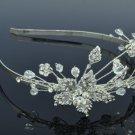Princess Wedding Leaf Flower Headband Jewelry w/ Clear Swarovski Crystals 26216R
