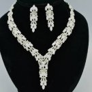 Wheatear Style Bridal Wedding Necklace Earring Set W/ Clear Swarovski Crystals