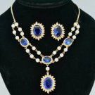 Faux Pearl Sea Blue Zircon Flower Necklace Earring Set Swarovski Crystals 682401
