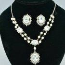Silver Faux Pearl Wedding Flower Necklace Earring Set Swarovski Crystals 682102