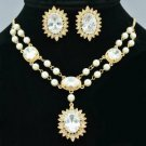 Faux Pearl Clear Zircon Flower Necklace Earring Set W/ Swarovski Crystals 682101