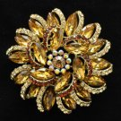 "2984 Rhinestone Crystals Brown Round Flower Brooch Broach Pin 2.5"""