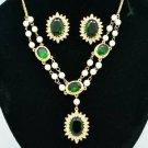 Faux Pearl Green Zircon Flower Necklace Earring Set W/ Swarovski Crystals 682601