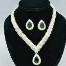 Popular Bridal Wedding Necklace Earring Set W/ Gree and Clear Swarovski Crystal