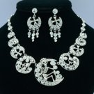 Excellent Moon Skeleton Skull Necklace Earring Set W/ Swarovski Crystals SNA3175
