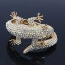 Clear/Gold Gecko Lizard Bracelet Bangle Cuff W/ Rhinestone Crystals 20338
