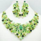 Gold Tone Flower Necklace Earring Set w/ Green Rhinestone Crystals NC-5196