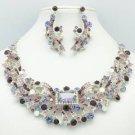 Silver Tone Flower Necklace Earring Set w/ Purple Rhinestone Crystals 5192