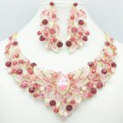 Gold Tone Flower Necklace Earring Set w/ Pink Rhinestone Crystals NC-5196