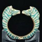 Enamel Sky Blue Zebra Bracelet Bangle Cuff W/ Clear Rhinestone Crystals L1077