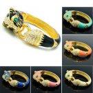 Excellent Swarovski Crystals Enamel Jaguar Leopard Bracelet Bangle W/ 6 Color