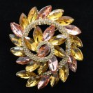 "Round Flower Pendant Brooch Broach Pin 2.2"" W/ Topaz Rhinestone Crystals OFA2281"
