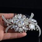 Silver Tone Bridesmaid Bridal Hair Comb For Wedding W/ Clear Swarovski Crystals