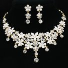 H-Quality White Enamel Flower Necklace Earring Set W/ Clear Swarovski Crystals