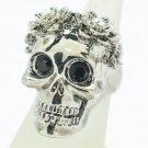 Swarovski Crystal Goth Style Flower Skull Cocktail Ring Sz 8# Black Eye SR2060