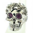 Swarovski Crystal Goth Style Flower Skull Cocktail Ring 7# Purple Eye SR2060-3