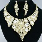 Wedding Rhinestone Crystal Floral Flower Necklace Earring Set W/ Gold Tone 00357