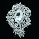 """Chic Bridal Flower Brooch Broach Pin 3.0"""" Clear Rhinestone Crystals 6039"""