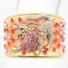 Cool Swarovski Crystals Pink Lion Enamel Cuff Bracelet Bangle 1972M-3