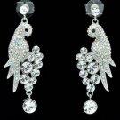 H-Quality Pierced Clear Bird Parrot Earring W/ Swarovski Crystals SEA0887