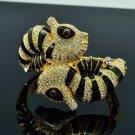 High Quality Clear Swarovski Crystals Sea Horse Bracelet Bangle W/ Black Enamel