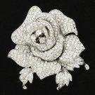 """Rhinestone Crystals Cute Clear Rose Flower Brooch Broach Pin 2.1"""" Wedding Bridal"""