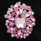 "4888 Rhinestone Crystals Pink Pendant Flower Brooch Pin 2.5"" W/ Silver Tone"