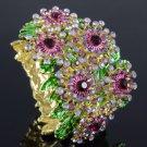 Pretty Snowflake Flower Bracelet Bangle Cuff W/ Purple Swarovski Crystals