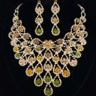 High Quality Swarovski Crystals Topaz Floral Flower Necklace Earring Set 288201