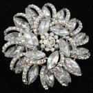 "Rhinestone Crystals Clear Round Flower Brooch Broach Pin 2.5"" For Wedding 2984"