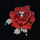 "Retro Cute Red Rose Flower Brooch Broach Pin 2.1"" W/ Rhinestone Crystals"