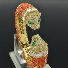 Rhinestone Crystals Red Acrylic Animal 2 Leopard Bracelet Bangle Cuff 00988