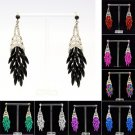 8 Colors Drop Dangle Flower Pierced Earring W/ Rhinestone Crystals 123835