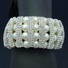 Rhinestone Crystals Wedding White Imitation Pearl Bracelet Bangle Cuff 6005
