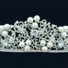 Clear Rhinestone Crystal Zircon Princess Bridal Wdding Pearl Flower Tiara Crown